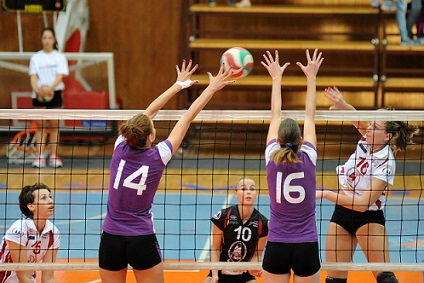 Block Over the Volleyball Net