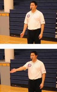 Hand techniques in volleyball authorizing the sub to enter the game