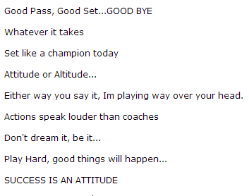 Volleyball sayings for success