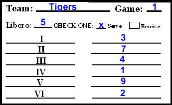 Volleyball high school line up sheet