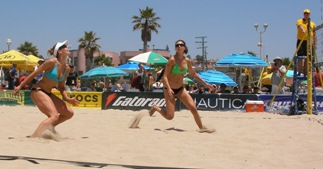 Volleyball passing on the beach