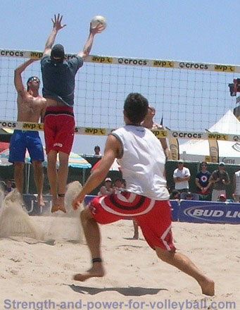 Beach volleyball blocking and defense