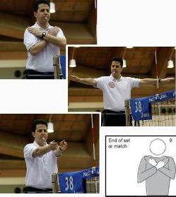Hand official signal for volleyball end of match