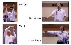Second referee volleyball techniques signals you mimic out, touch, ball in, ball out