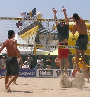 Volleyball block on the beach
